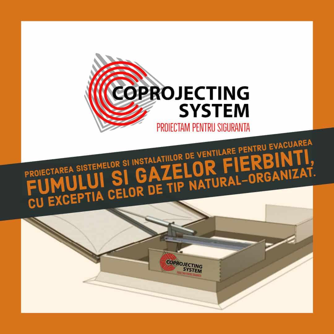Proiectare a sistemelor şi instalaţiilor de ventilare pentru evacuarea fumului şi gazelor fierbinţi, cu excepţia celor de tip natural organizat, pentru obţinerea avizelor